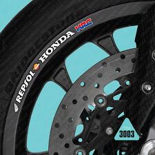 SKU3003 - 10 X Repsol Honda HRC Motorcycle Wheel Rim Stickers Decals Tranfers