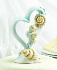 Seaside Jewels Heart Seashell Beach Wedding Cake Topper