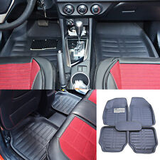 5pcs Universal Car Front & Rear Row Floor Mat Protector Liner Solid Carpet Black