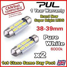 2x 38mm 39mm PURE WHITE Interior Number Plate light FESTOON BULB 6 LED 239 272