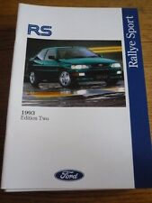 Ford fiesta RS1800, ESCORT RS 2000 & Escort RS Cosworth folleto de ventas 1993 ED.2