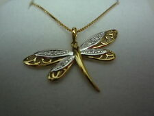 NEW 9k 9ct yellow gold box chain 18inch 45cm and pendant butterfly