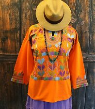 Tangerine & Multi-Color, Corn Motif hand embroidery Blouse, Mexican Hippie Boho