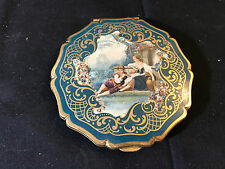 Old Vtg Victorian Style Gold Tone Make-up Compact Vanity Man Woman Talking
