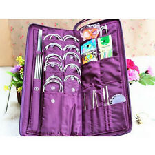 104pcs Stainless Straight Circular Knitting Needles Crochet Hook Weave Set #QW