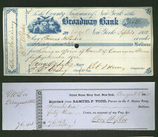SIGNED lot two items 1800s New York *Mayor George Opdyke * US Navy Yard pay slip