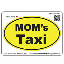 "OVAL - MOM's TAXI (4"" color: B/Y) Full Color Printed Vinyl Window Sticker"