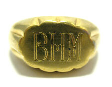 """VINTAGE GOLD FILLED SIGNET INITIAL RING SIZE 6.75  5.4 GRAMS 8 MM """"BHM"""" #654"""