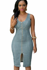 Abito a cono aperto aderente jeans Zip Scollo Spacco Midi Denim Bodycon Dress L