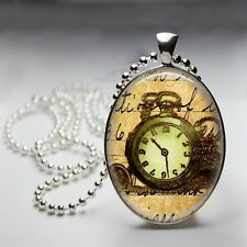 Vintage Watch Beige Base Oval Dome Silver Plated Pendant 30x40mm Ball Chain