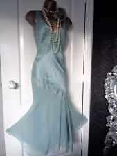 MONSOON 1920s 30's silk flapper beaded dress size UK 8 Eu 36 USA 4 Great Gatsby