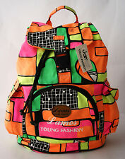 RARE ORIGINAL VINTAGE 80'S JAMOS NEON SCHOOL BAG BACKPACK NEW WITH TAGS NOS !