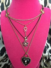 Betsey Johnson Vintage Safari Pink Zebra Lucite Heart Lock Key Necklace RARE
