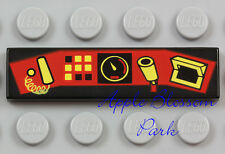 NEW Lego CONTROL PANEL TILE Black 1x4 Minifig Train Computer Screen Gauge 10020