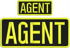 """agent embroidery patches  4x10 and 2x5""""  hook on back  yellow Letters"""