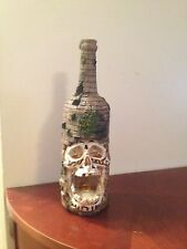 "SKULL HEAD IN BRICKS SCENE 3D RESIN SMOKING INCENSE BURNER BOTTLE 11"" x 3"" LARGE"