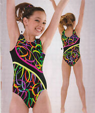 NWT Axis Gymnastic Dance Leotard Black/Fluorescent Multi Color Girls Intermedite