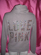 Victoria's Secret ~Pink~ Silver Gold Bling Sequin Gray FULL Zip-Hoodie LARGE
