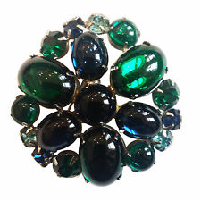 Vintage  WEISS Glass Cabochons & Rhinestones  Brooch Pin