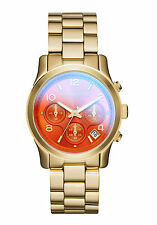 Michael Kors mk5939 Runway iridescente Quadrante Arancione Gold-Tone Donna Chrono Watch