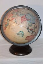 "VINTAGE GLOBE RAND MCNALLY TERRESTRIAL 12"" RAISED TOPOGRAPHY FAMOUS SHIPS TAN"