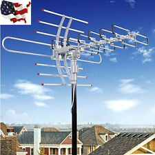Outdoor Amplified Antenna Digital HD TV 180M 360 Rotor UHF/VHF/FM HDTV 1080P US!