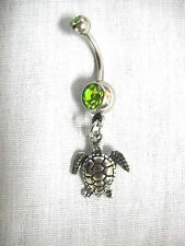 ENDANGERED SEA TURTLE USA PEWTER CHARM ON DBL LIME GREEN CZ BELLY BAR NAVEL RING