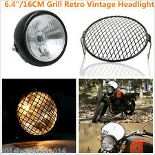Grill Retro Vintage Motorcycle Side Mount Headlight Old School Cafe Racer Bobber