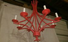 FELDMAN CO. Los Angeles, CA ~ Repainted RED FAUX BAMBOO chandelier No.c-248899