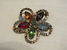 Lovely Brooch Pin Gold Tone Flower Filled with Colorful Rhinestones 1 3/4 In WOW