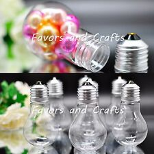 12 Fillable Plastic Light Bulbs Clear Wedding Favors Baby Shower Holders Gifts