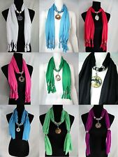 US SELLER-lot of 6 wholesale charm scarf necklace  handcrafted glass pendants