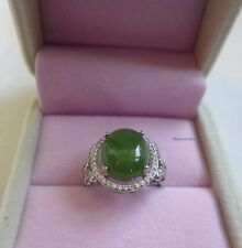 Certified 6CT HeTian Jade (He Tian Bi Yu) sterling silver Ring adjustable size