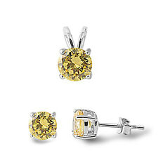 NEW! Lemon Topaz .925 Sterling Silver Pendant & Earrings Set .5""