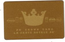 BK GOLD Crown Card Burger King GIFT Card  - New No Value Mint BILINGUAL