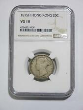 HONG KONG 1875 H 20 CENT NGC VG10 RARE TYPE ASIA SILVER OLD COIN COLLECTION LOT