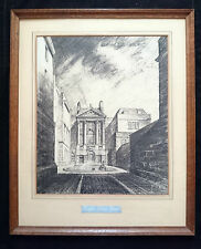 HISTORIC ARCHITECTURAL ORIGINAL CHARCOAL DRAWING RALPH ALLEN'S HOUSE BATH 1945