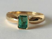 COLOMBIAN NATURAL AAA GREEN EMERALD SOLITAIRE RING 18K YELLOW GOLD SIZE 8