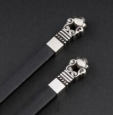 Georg Jensen Pair Of  Acorn Sterling Silver & Ebony Chopstick Set. Johan Rohde.