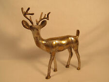 Vintage Metal Buck Deer Figurine Statue Two Tone Spotted