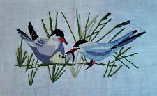 Vintage Crewel Embroidered Birds and baby Pillow Top Picture Erica Wilson design