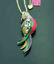 606   Betsey Johnson Crystal Enamel cute Parrot Pendant Sweater  Necklace