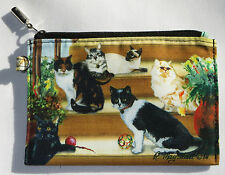 CATS Coin Purse Makeup Zippered Pouch Fully Lined Kittens Siamese Tabby Black