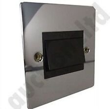 Fan Isolator Switch Polished Chrome 10A Flatplate Black Inserts EH7018 Flatplate