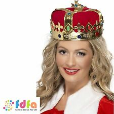 RED & GOLD QUEENS CROWN WITH JEWELS - ladies womens fancy dress costume