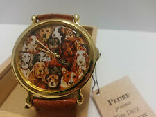 Pedre First Edition Quartz Watch - Artist Ditz Collection Dogs - Round Gold-Tone