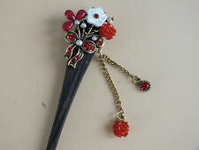 RED FLOWER JAPANESE WOOD HAIR STICK PIN CHOPSTICKS CHINESE NEW YEAR PARTY M