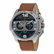 NWT DIESEL Ironside Grey Dial Men's Chronograph Brown Leather Watch DZ4387 $260