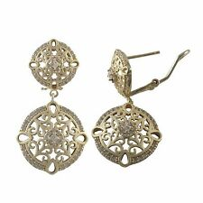 Gold Plated Sterling Silver Filigree Circle Dangle Earrings