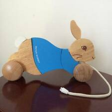 """Peter Rabbit Wooden In Blue Shirt Pull Toy with Felt Ears """"Hops Along"""" When"""